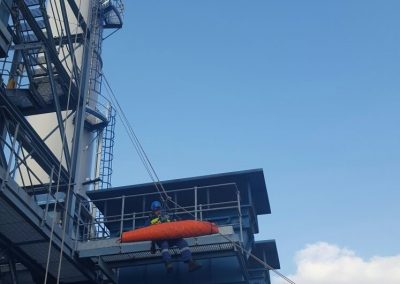 Emergency rescue and safety cover demonstration working at height rescue