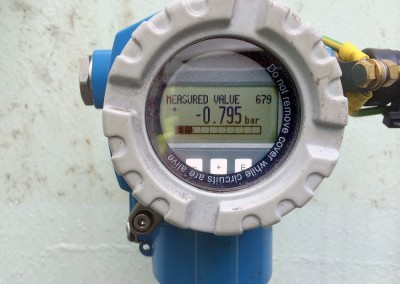 Detail of monitoring gauge outside of tank