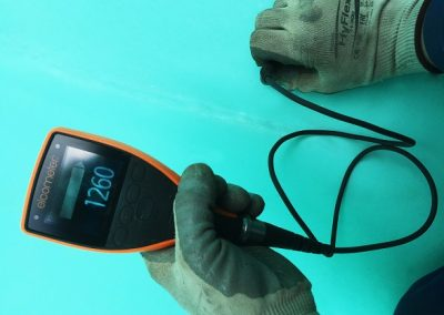 Paint thickness readings to solvent free coating