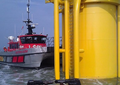 Docking at one of the turbines