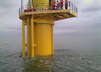 One of the completed turbines