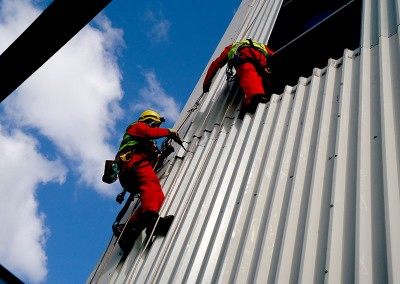 Rope access cladding work