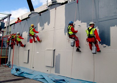 Coating work by rope access