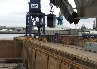 A & P Shipyard performing work underneath ship helideck