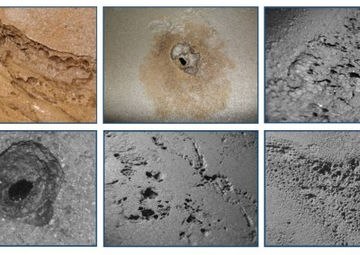 Examples of corrosion found in storage tanks.