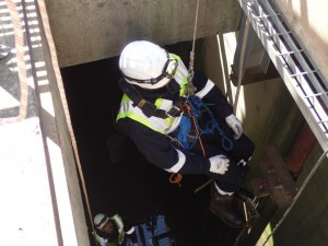 Injured Person being winched safely out of the confined space