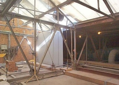 Atrium with concrete walls removed and WARD insulation panel installed