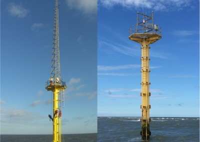 Met Mast before and after lattice tower section removal