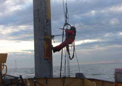 Blasting corrosion on Scroby Sands met mast