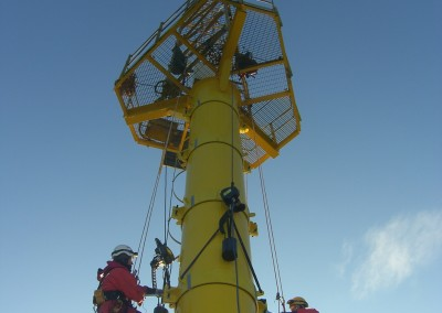 Installation of new clamps onto Scroby Sands Met Mast
