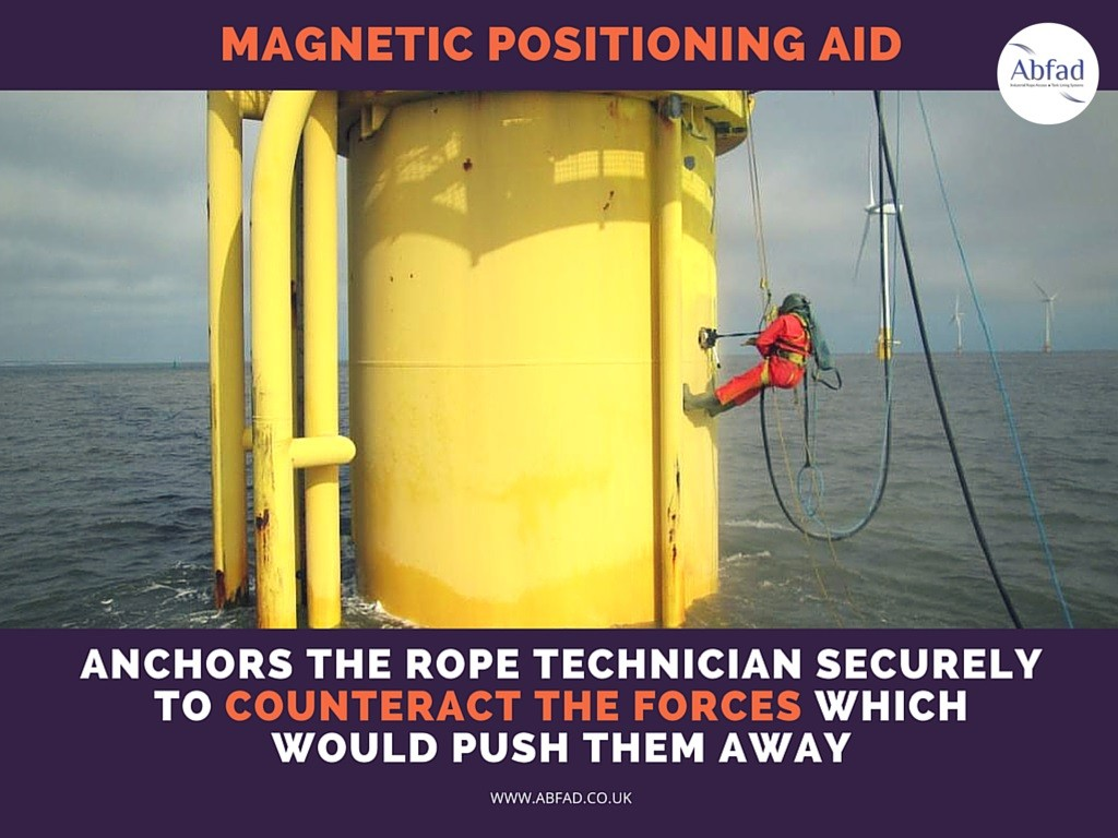 Abfad's Magnetic Positioning Aid counteracts the forces which would push the rope access technician away