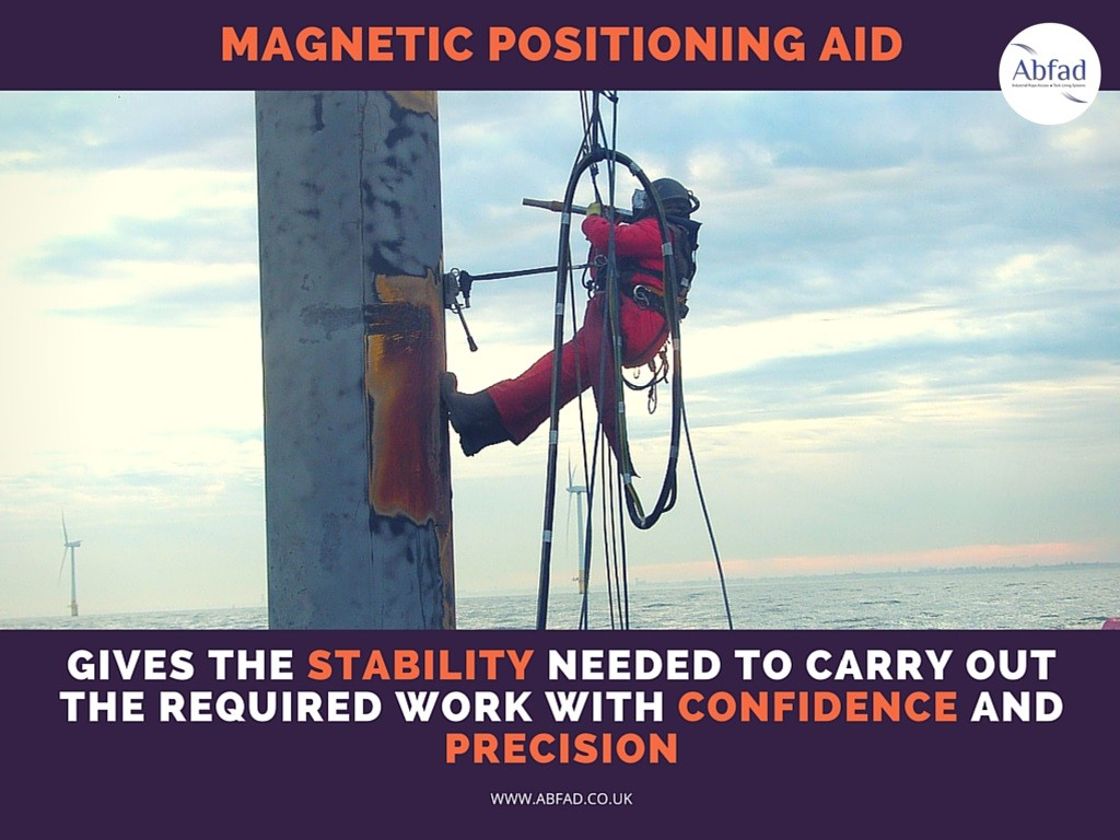 Abfad's Magnetic Positioning Aid gives the rope access technician much needed stability