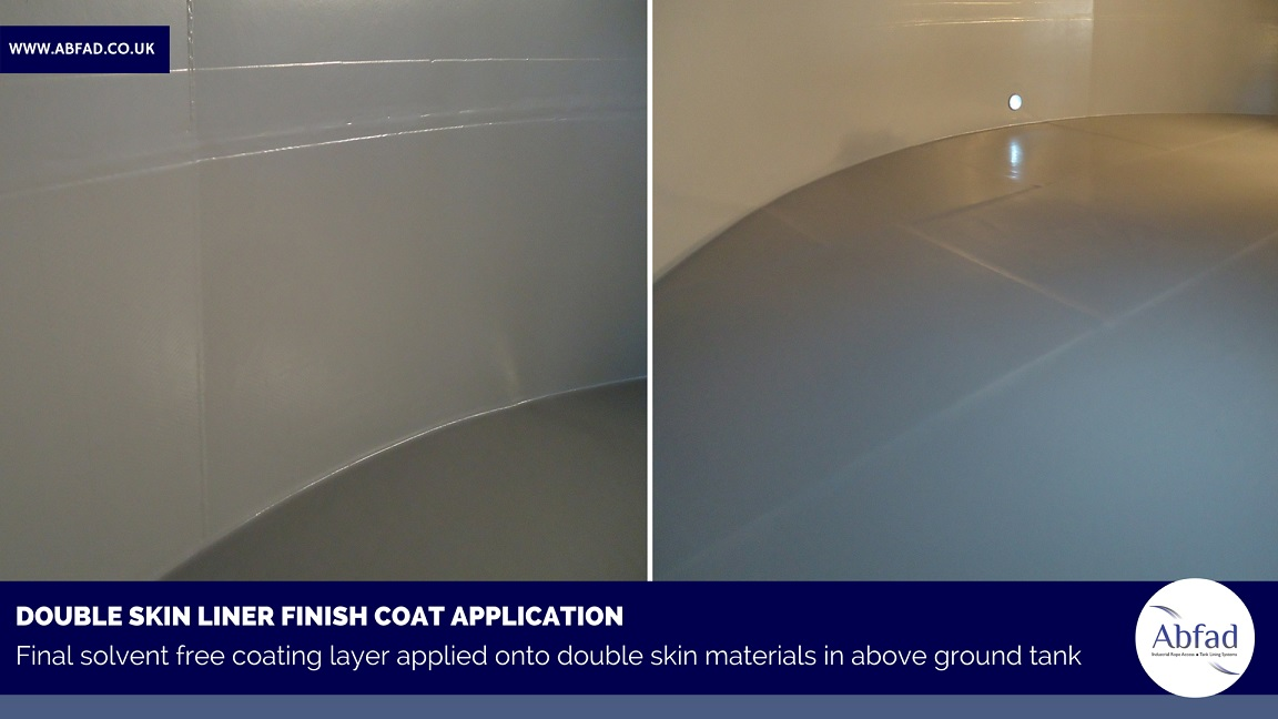 Double skin liner finish coat applied in above ground storage tank