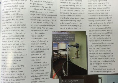 HCL tank project featured in Tank Storage Magazine