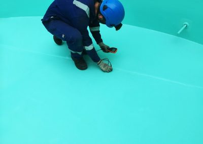 Paint thickness checks to single skin coating on above ground storage tank