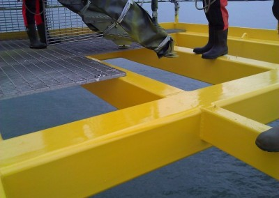 Coating of walkways and re-installation of gratings
