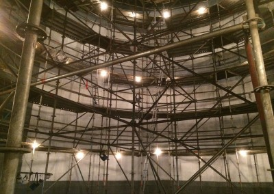 Scaffold inside of HCL tank