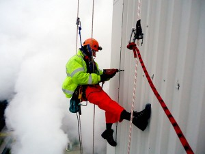 Rope access maintenance carried out in power station