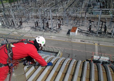 Rope access roof repair