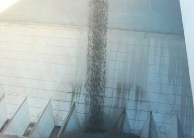 Granite loading into the polyurethane coated holds