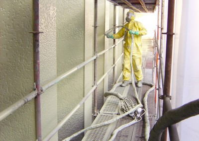 Solvent-free Urethane being sprayed
