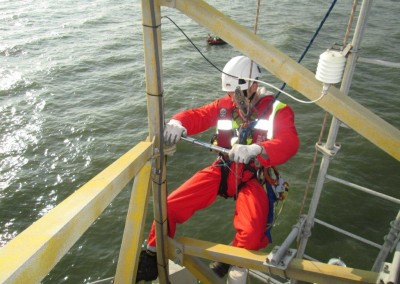Tightening of all bolts on Scroby Sands met mast on return visit