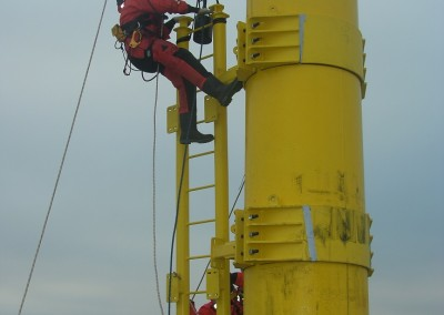 Installation of new ladder sections onto Scroby Sands met mast