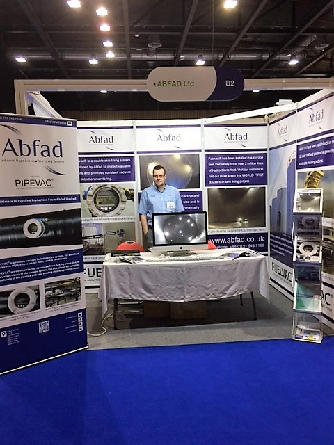 Abfad's stand at APEA Live 2016 manned by one of the Abfad team